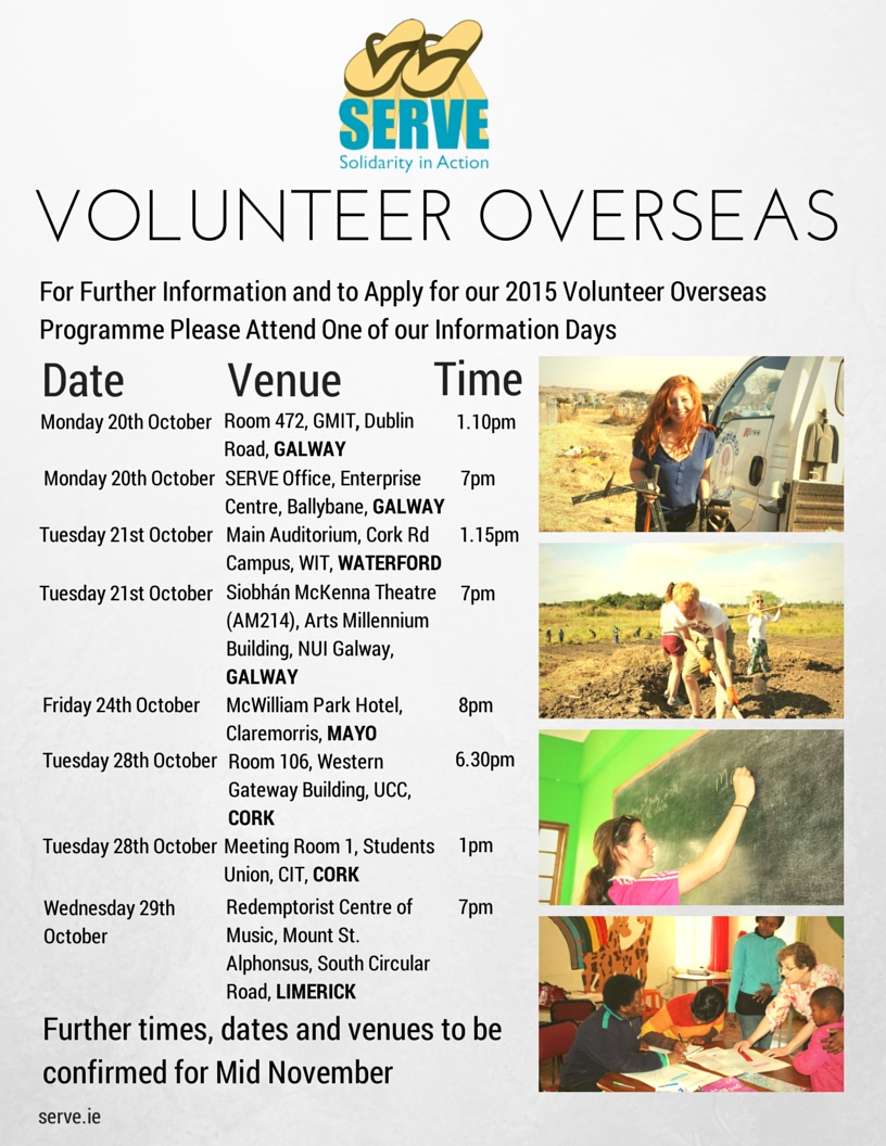 SERVE's recruitment for volunteers for 2015