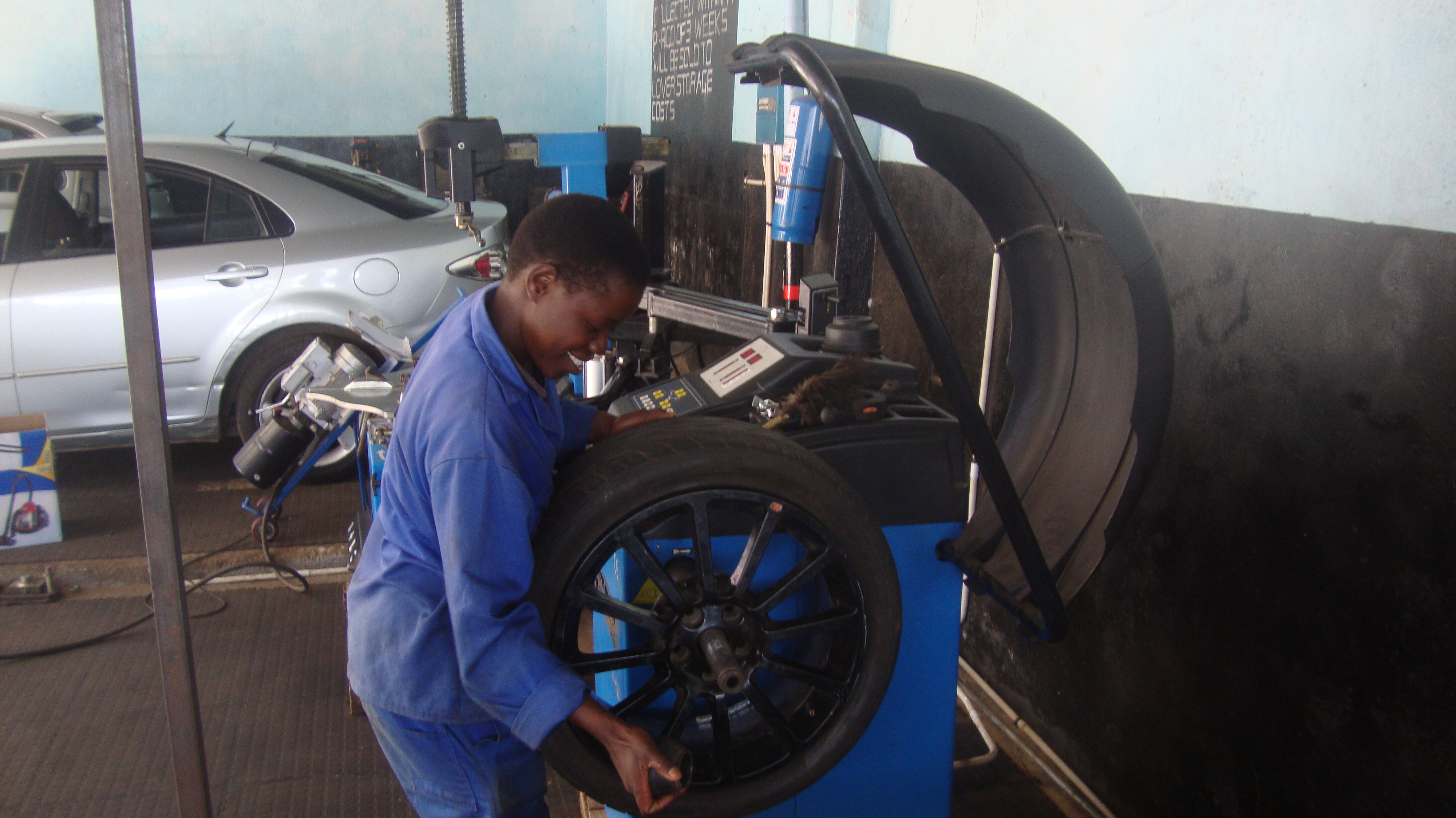 Giveth Mambo has been working in a garage in Harare, Zimbabwe for over one year