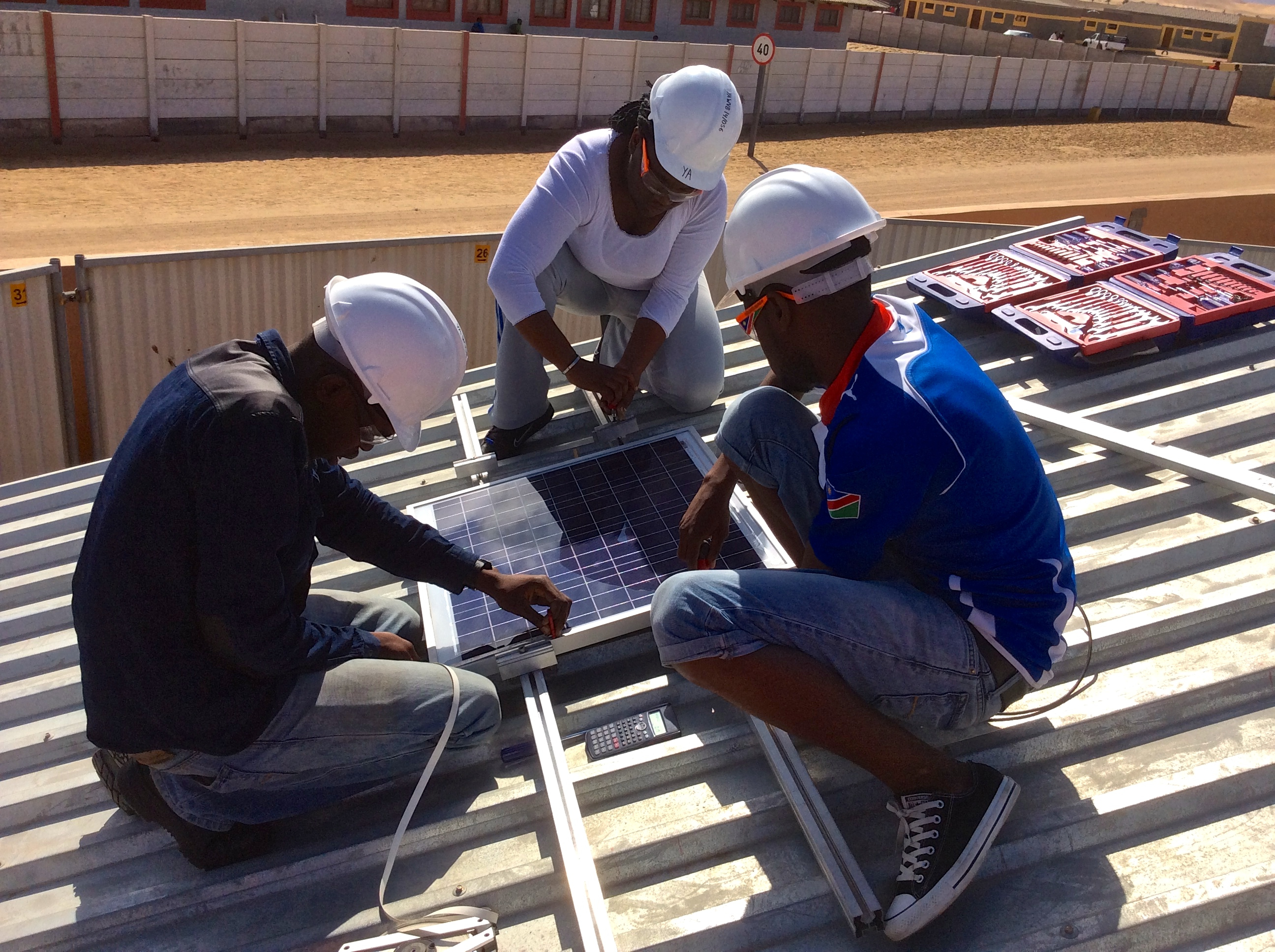 Practical exam, installing a Solar Panel Photo Credit: Young Africa Namibia