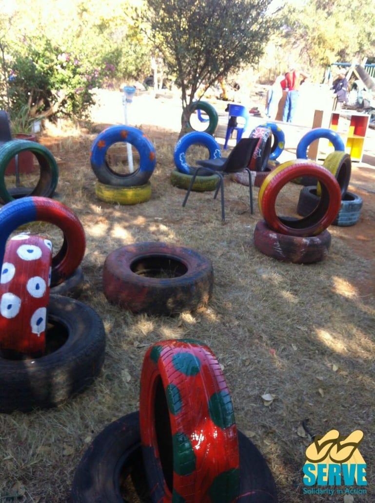 Freshly painted tyres