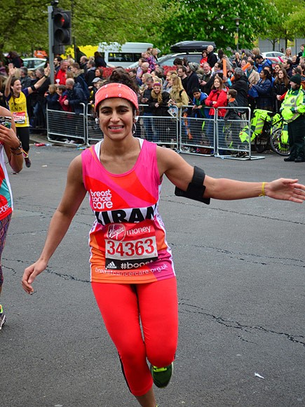 Kiran Gandi during the London marathon