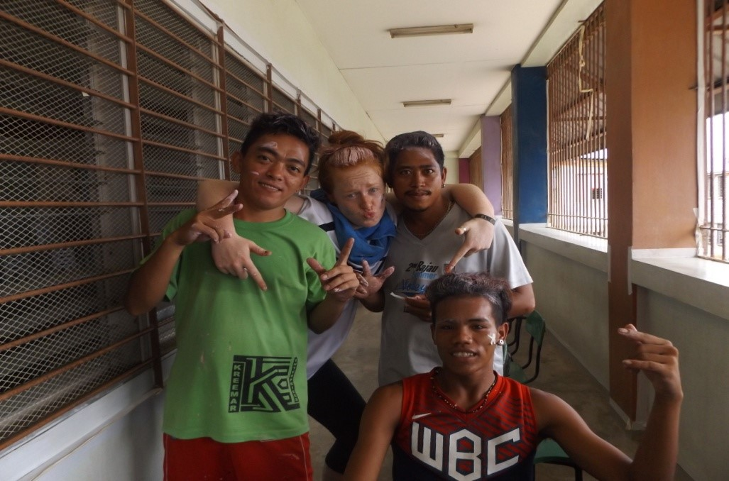 Always wanting to help; Romeo, Richard and Jobert with Aoibheann