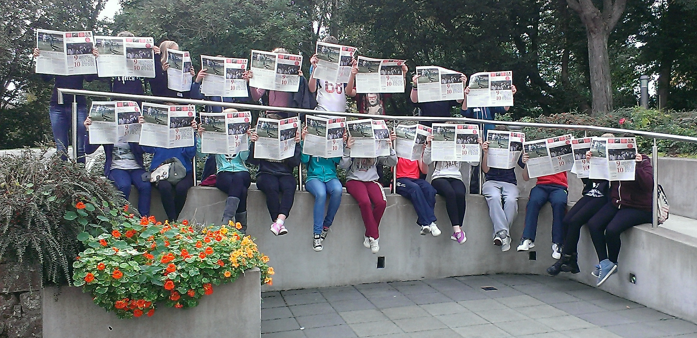 Students in Cork reading the World's Best News