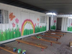 Students from Colaiste Cois Life and Step up and Serve youth group gave the Tsholofelo clinic in Siza a face lift.