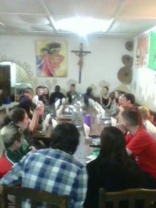 Coláiste Cois Life students having community dinner at St. Bakhita's
