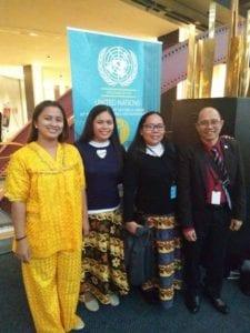 Venerva, Annie, Edwina and Pabs representing the Badjao community at the UN