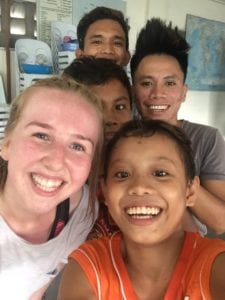 Catriona with Badjao students