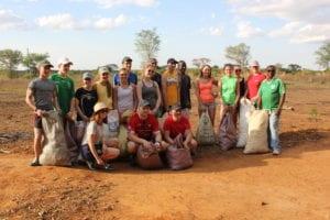 Coláiste Feirste happy with their days work picking cotton on Luanda Farm