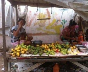 Badjao women selling fruit