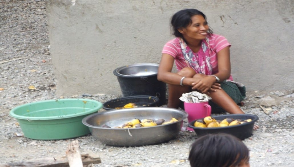 A Badjao women selling Mangoes; the most common fruit of the Philippines