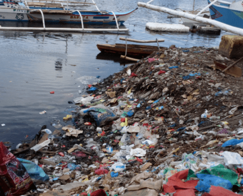 The polluted river behind the Nano Nagle school - a typical representation of the poor area of the Philippines