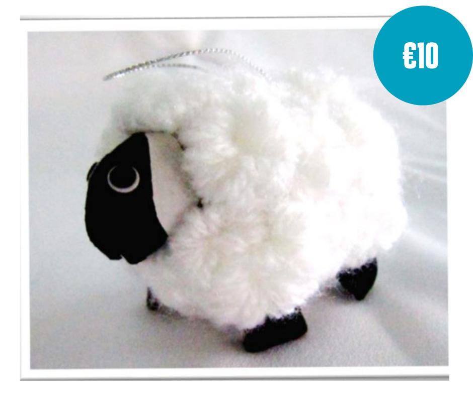 Pair of handmade sheep soft toys