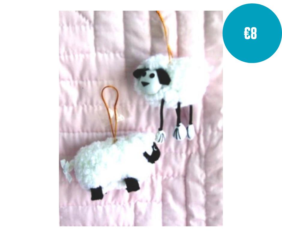 Handmade pair of sheep soft toys small
